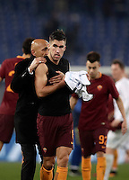 Calcio, Serie A: Roma vs ChievoVerona. Roma, stadio Olimpico, 22 settembre 2016.<br /> Roma's coach Luciano Spalletti, left, celebrates with his player Kevin Strootman at the end of the Italian Serie A football match between Roma and Chievo Verona, at Rome's Olympic stadium, 22 December 2016. Roma won 3-1.<br /> UPDATE IMAGES PRESS/Isabella Bonotto