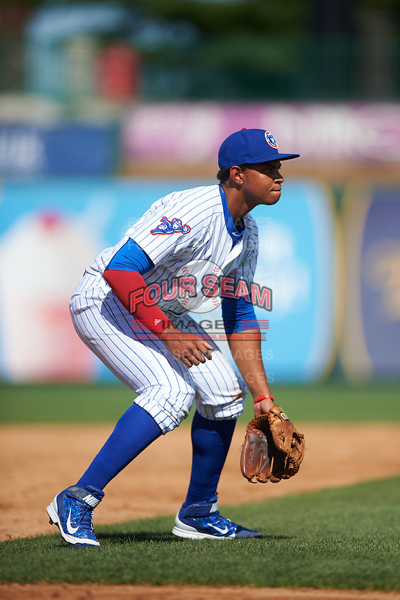 South Bend Cubs third baseman Adonis Paula (5) during the second game of a doubleheader against the Peoria Chiefs on July 25, 2016 at Four Winds Field in South Bend, Indiana.  South Bend defeated Peoria 9-2.  (Mike Janes/Four Seam Images)