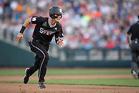 Mississippi State Bulldogs outfielder Jake Mangum (15) runs to third base during Game 4 of the NCAA College World Series against the Auburn Tigers on June 16, 2019 at TD Ameritrade Park in Omaha, Nebraska. Mississippi State defeated Auburn 5-4. (Andrew Woolley/Four Seam Images)