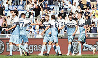 Football, Serie A: S.S. Lazio - Fiorentina, Olympic stadium, Rome, 7 october 2018. <br /> Lazio's Ciro Immobile (c) celebrates after scoring with his teammates during the Italian Serie A football match between S.S. Lazio and Fiorentina at Rome's Olympic stadium, Rome on October 7, 2018.<br /> UPDATE IMAGES PRESS/Isabella Bonotto
