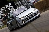 BNPS.co.uk (01202) 558833. <br /> Pic: SuttonMotorsportImages/BNPS<br /> <br /> Pictured: The car on the famous Goodwood track. <br /> <br /> A souped-up Renault Clio that once earned Jenson Button a ticking off from race organisers has emerged for sale for an incredible £42,000.<br /> <br /> The 2009 F1 World Champion drove the V6 hatchback at the Goodwood Festival of Speed in West Sussex in 2001.<br /> <br /> After racing it up the famous hill, Button treated the crowd to some donuts, leading to a stern telling off from a nearby marshal.