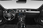 Stock photo of straight dashboard view of a 2018 Ford Mustang Fastback Ecoboost 2 Door Coupe