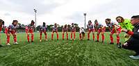 Essevee's players pictured before a female soccer game between Club Brugge Dames YLA and Zulte Waregem Ladies on the third matchday of the 2020 - 2021 season of Belgian Scooore Womens Super League , saturday 3 October 2020  in Brugge , Belgium . PHOTO SPORTPIX.BE | SPP | DAVID CATRY