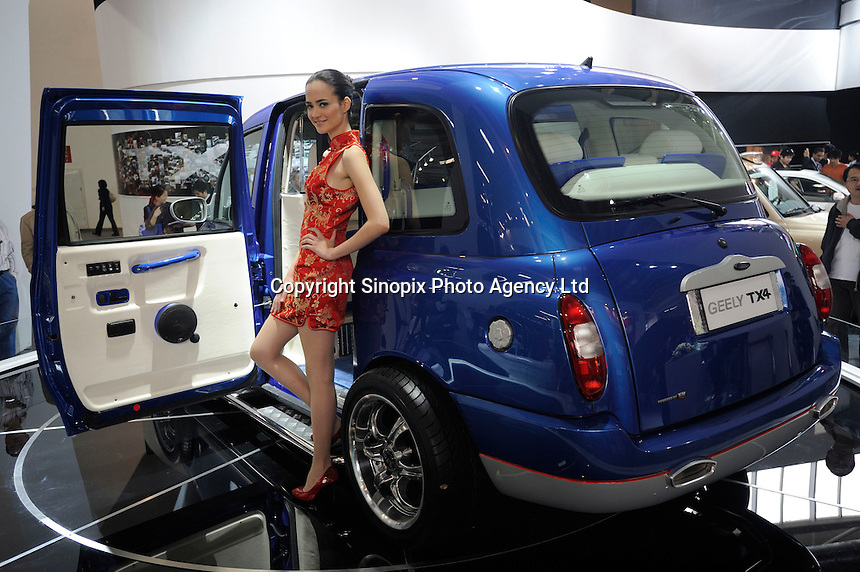 Geely TX4 at the Auto China 2008 in Beijing. The car show has attracted all the world's major auto markers. Vehicle production and sales both surged more than 20 percent to a record 8.8 million units in China last year. Analysts forecast that both China's auto output and sales will continue to expand at double-digit rates in 2008 to 10 million as the economy grows rapidly and the government tries to encourage people to spend money..24 Apr 2008