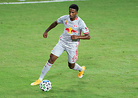 WASHINGTON, DC - SEPTEMBER 12: Kyle Duncan #6 of the New York Red Bulls dribbles during a game between New York Red Bulls and D.C. United at Audi Field on September 12, 2020 in Washington, DC.
