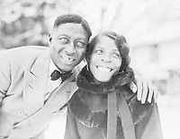 Huddie Ledbetter, better known as Lead Belly (or Leadbelly), with his wife Martha Promise Ledbetter, in Wilton, Connecticut, 1935.