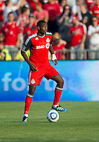 Toronto FC defender Doneil Henry #4 in action during an MLS game between the Seattle Sounders FC and the Toronto FC at BMO Field in Toronto on June 18, 2011..The Seattle Sounders FC won 1-0.
