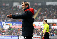 Liverpool manager Jurgen Klopp gestures in frustration on the touchline during the Barclays Premier League match between Swansea City and Liverpool played at the Liberty Stadium, Swansea on 1st May 2016