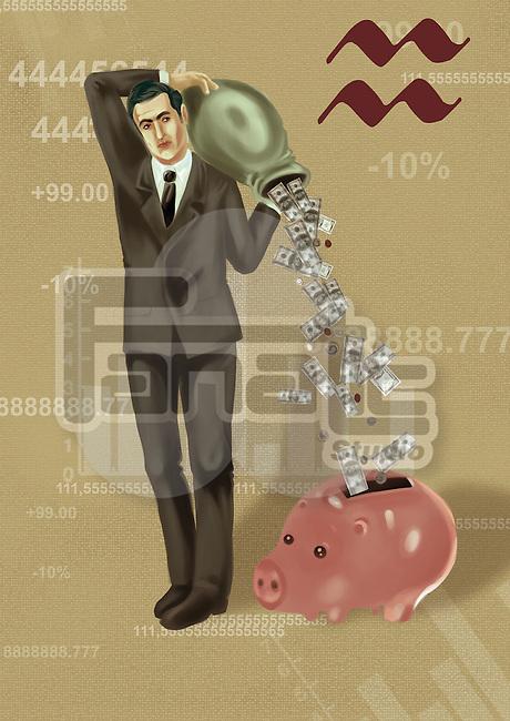 Businessman pouring money into a piggy bank