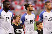 Harrison, NJ - Friday Sept. 01, 2017: Jozy Altidore, Graham Zusi, Fabian Johnson, Volpi prior to a 2017 FIFA World Cup Qualifier between the United States (USA) and Costa Rica (CRC) at Red Bull Arena.