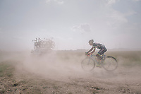 Tom Devriendt (BEL/Wanty-Groupe Gobert) trying to find his way through the dust storm<br /> <br /> 92nd Schaal Sels 2017 <br /> 1 Day Race: Merksem > Merksem (188km)