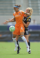 Sky Blue FC Natasha Kai keeps the ball away from Los Angeles Sol's Allison Falk in the second half. Sky Blue FC won 1-0 over teh Sol at the Home Depot Center on Saturday, Aug. 22. 2009, in Carson, California..