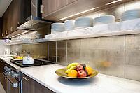 Fruits on marble worktop