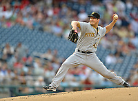 16 May 2012: Pittsburgh Pirates pitcher Erik Bedard on the mound against the Washington Nationals at Nationals Park in Washington, DC. The Nationals defeated the Pirates 7-4 in the first game of their 2-game series. Mandatory Credit: Ed Wolfstein Photo
