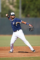 Milwaukee Brewers Gabriel Garcia (6) during an Instructional League game against the Cincinnati Reds on October 14, 2016 at the Maryvale Baseball Park Training Complex in Maryvale, Arizona.  (Mike Janes/Four Seam Images)