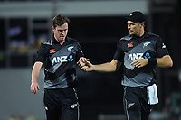 NZ's Adam Milne and Tim Southee during the second International T20 cricket match between the New Zealand Black Caps and Bangladesh at McLean Park in Napier, New Zealand on Tuesday, 30 March 2021. Photo: Dave Lintott / lintottphoto.co.nz