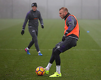 Mike van der Hoorn passes the ball during the Swansea City Training at The Fairwood Training Ground, Swansea, Wales, UK. Wednesday 22 February 2017