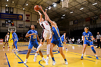 SANTA CRUZ, CA - JANUARY 22: Lexie Hull #12 takes a shot during the Stanford Cardinal women's basketball game vs the UCLA Bruins at Kaiser Arena on January 22, 2021 in Santa Cruz, California.