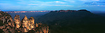 Sun Setting on the Three Sisters in Katoomba, Blue Mountains.  New South Wales, Australia.<br /> <br /> Image taken on large format panoramic 6cm x 17cm transparency. Available for licencing and printing. email us at contact@widescenes.com for pricing.