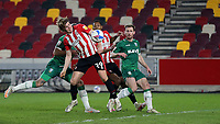 Mads Bech Sorensen scores Brentford's third goal with a fine header during Brentford vs Sheffield Wednesday, Sky Bet EFL Championship Football at the Brentford Community Stadium on 24th February 2021