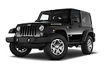 Stock pictures of low aggressive front three quarter view of 2017 JEEP Wrangler Rubicon 5 Door SUV Low Aggressive