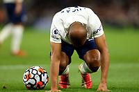 26th August 2021; Tottenham Hotspur Stadium, London, England; Europa Conference League football, Tottenham Hotspur versus Paços de Ferreira; Lucas of Tottenham Hotspur recovers after he has been fouled