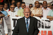 Cable Street veteran Max Levitas leads a march of anti-racist campaigners to commemorate the 75th anniversary of the 1936 street battle, in which residents of Stepney successfully prevented Oswald Mosley's Blackshirts from marching through London's East End.