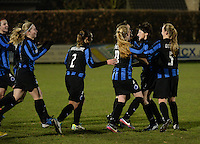 20131213 - VARSENARE , BELGIUM : Brugge's Ingrid De Rycke (right - 7 ) pictured celebrating her goal and lead for Brugge (1-0) during the female soccer match between Club Brugge Vrouwen and PEC Zwolle Ladies , of  matchday 14  in the BENELEAGUE competition. Friday 13th December 2013. PHOTO DAVID CATRY