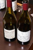 Bottles of Sierra du Sud Domaine Gramenon  Cotes du Rhone, and plain Cotes du Rhone, owned by Michele Aubery and Laurent Vigneronne, in Montbrison sur Lez, Drome.