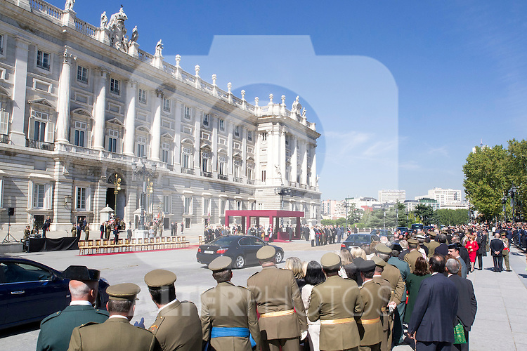 01.10.2012. The Spanish Royal Family, King Juan Carlos, Queen Sofia, Prince Felipe, Princess Letizia and Princess Elena attend the imposition of collective Distinguished Cross San Fernando Al Banner Armored Cavalry Regiment ´Alcántara´ No. 10 in the Royal Palace in Madrid, Spain. In the image Royal Palace of Madrid (Alterphotos/Marta Gonzalez)