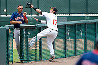 GCL Orioles Manuel Hernandez #17 reaches into the bullpen to try and catch a foul ball during a Gulf Coast League game against the GCL Red Sox at Ed Smith Stadium on July 18, 2012 in Sarasota, Florida.  GCL Red Sox defeated the GCL Orioles 16-1.  (Mike Janes/Four Seam Images)