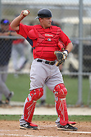 March 18, 2010:  Catcher Tim Federowicz of the Boston Red Sox organization during Spring Training at Ft.  Myers Training Complex in Fort Myers, FL.  Photo By Mike Janes/Four Seam Images