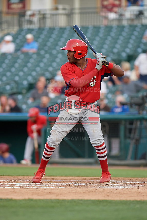 Springfield Cardinals Justin Williams (25) bats during a Texas League game against the Frisco RoughRiders on May 6, 2019 at Dr Pepper Ballpark in Frisco, Texas.  (Mike Augustin/Four Seam Images)