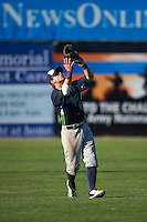 Vermont Lake Monsters second baseman Trace Loehr (6) catches a popup during a game against the Batavia Muckdogs August 9, 2015 at Dwyer Stadium in Batavia, New York.  Vermont defeated Batavia 11-5.  (Mike Janes/Four Seam Images)