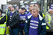 Barnet Unison picket at Mill Hill Depot during strike over outsourcing of services including  catering, street cleaning and refuse collection