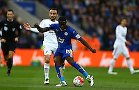 Jeff Schlupp of Leicester City has a shot on goal during the Barclays Premier League match between Leicester City and Swansea City played at The King Power Stadium, Leicester on 24th April 2016