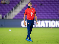 ORLANDO, FL - FEBRUARY 24: Vlatko Andonovski of the USWNT watches his team before a game between Argentina and USWNT at Exploria Stadium on February 24, 2021 in Orlando, Florida.