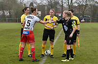 Referee Viki De Cremer with Zulte Waregem's defender Pauline Windels (L) and Woluwe's Jana Simons (R)  pictured during a female soccer game between SV Zulte - Waregem and White Star Woluwe on the 9th matchday of the 2020 - 2021 season of Belgian Scooore Women s SuperLeague , saturday 12 th of December 2020  in Waregem , Belgium . PHOTO SPORTPIX.BE | SPP | DIRK VUYLSTEKE