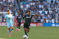 ST PAUL, MN - AUGUST 14: Rayan Raveloson #6 of the Los Angeles Galaxy kicks the ball during a game between Los Angeles Galaxy and Minnesota United FC at Allianz Field on August 14, 2021 in St Paul, Minnesota.