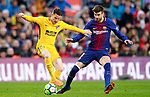 FC Barcelona's Gerard Pique (r) and Atletico de Madrid's Kevin Gameiro during La Liga match. March 4,2018. (ALTERPHOTOS/Acero)