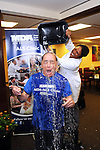 Dr. Stanley Appel has a bucket of ice water dumped on his head by Dr. Ericka Simpson during an Ice Bucket Challenge at the Muscular Dystrophy Association ALS Clinic at the Houston Methodist Neurology Institute Monday Aug. 18, 2014.(Dave Rossman photo)
