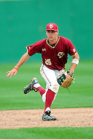 Boston College Eagles shortstop Johnny Adams (25)  during a game versus the Notre Dame Fighting Irish at Pellagrini Diamond at Shea Field on May 15, 2015 in Chestnut Hill, Massachusetts.  (Ken Babbitt/Four Seam Images)