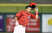 Clearwater Threshers shortstop J.P. Crawford (2) celebrates his game winning hit during a game against the Tampa Yankees on June 26, 2014 at Bright House Field in Clearwater, Florida.  Clearwater defeated Tampa 4-3.  (Mike Janes/Four Seam Images)