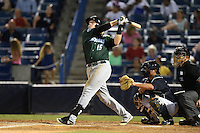 Daytona Tortugas catcher Chad Wallach (15) at bat during a game against the Tampa Yankees on April 24, 2015 at George M. Steinbrenner Field in Tampa, Florida.  Tampa defeated Daytona 12-7.  (Mike Janes/Four Seam Images)