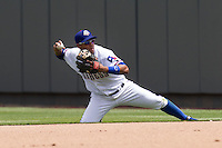 Round Rock Express second baseman Yangevis Solarte #26 makes a throw to first base from his knee against the New Orleans Zephyrs in the Pacific Coast League baseball game on April 21, 2013 at the Dell Diamond in Round Rock, Texas. Round Rock defeated New Orleans 7-1. (Andrew Woolley/Four Seam Images).