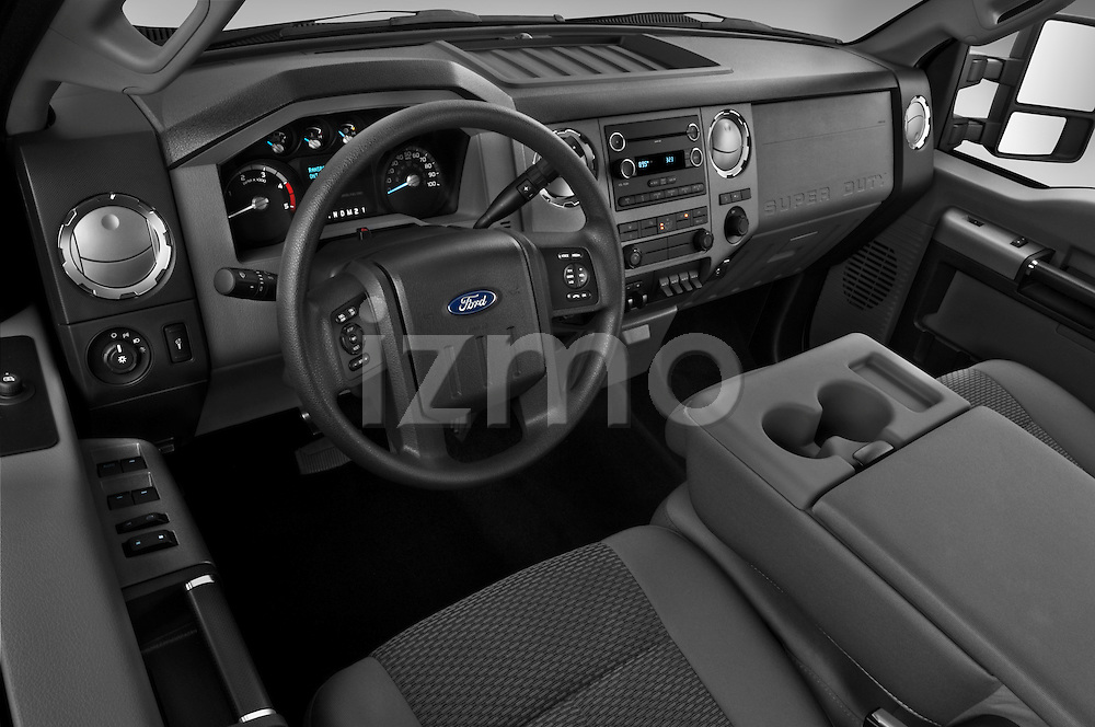 High angle dashboard view of a 2011 Ford F-250 Crew Cab 4x4