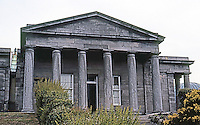 """Edinburgh: Edinburgh City Observatory.  Calton Hill. Playfair Building designed by William Henry Playfair and holds a 6 """" refractor in its dome. Closed in 2009.  Photo '90."""