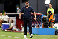 Gennaro Gattuso coach of SSC Napoli reacts during the Serie A football match between SSC Napoli and US Sassuolo at stadio San Paolo in Napoli ( Italy ), July 25th, 2020. Play resumes behind closed doors following the outbreak of the coronavirus disease. <br /> Photo Cesare Purini / Insidefoto