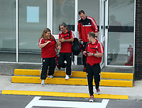 Wednesday 28 August 2013<br /> Pictured: Coaching staff with Morten Wieghorst (TOP) at Cardiff Airport.<br /> Re: Swansea City FC players and staff en route for their UEFA Europa League, play off round, 2nd leg, against Petrolul Ploiesti in Romania.