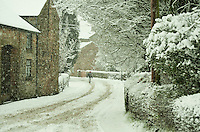Snow on road going through Chipping,Lancashire.